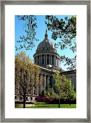 Oklahoma City Capitol In The Spring Framed Print by Toni Hopper