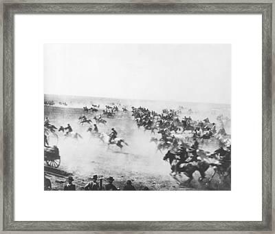 Oklahoma Land Rush Framed Print by Barney Hillerman