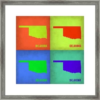 Oklahoma Pop Art Map 1 Framed Print by Naxart Studio