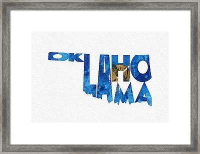 Oklahoma Typographic Map Flag Framed Print by Ayse Deniz