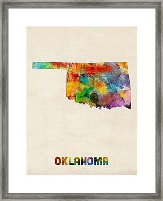 Oklahoma Watercolor Map Framed Print by Michael Tompsett