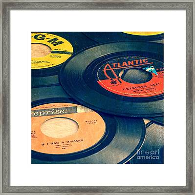 Old 45 Records Square Format Framed Print by Edward Fielding