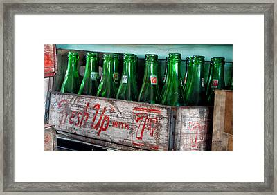Old 7 Up Bottles Framed Print by Thomas Woolworth