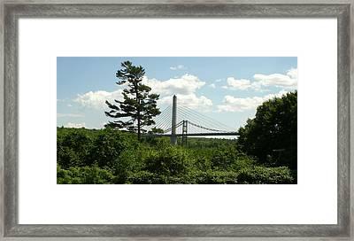 Old And New Bridges Over Penobscot Framed Print by David Fiske