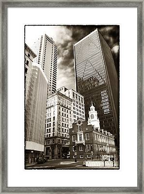 Old And New In Boston Framed Print by John Rizzuto