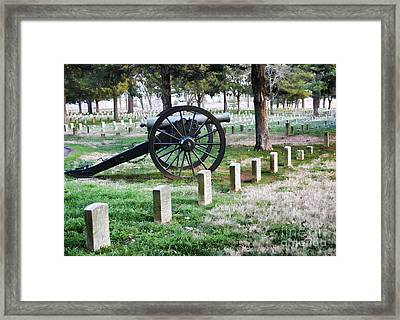 Old Artillery In Union Grave Yard Framed Print by Donna Greene