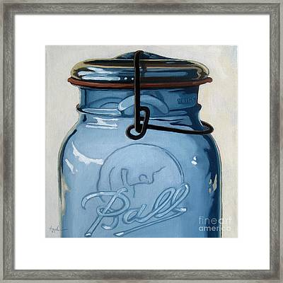 Old Ball Jar -oil Painting Framed Print by Linda Apple
