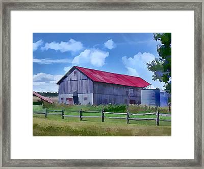 Old Barn And Grain Silos Framed Print by Elaine Plesser
