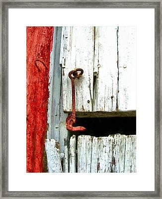 Old Barn Door Hook Framed Print by Julie Dant