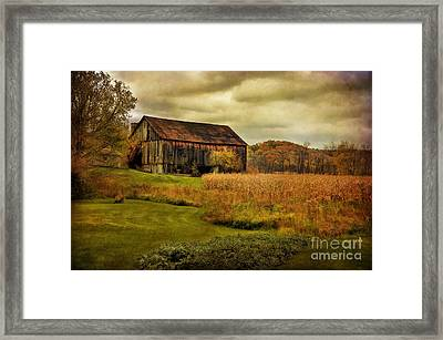 Old Barn In October Framed Print by Lois Bryan