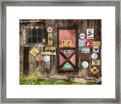 Old Barn Signs - Door And Window - Shadow Play Framed Print by Gary Heller