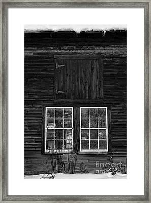Old Barn Windows Framed Print by Edward Fielding