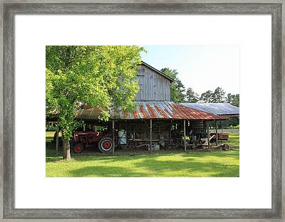 Old Barn With Red Tractor Framed Print by Suzanne Gaff