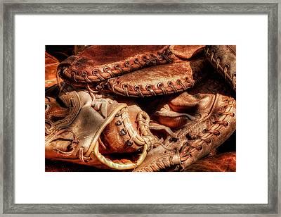 Old Baseball Gloves Framed Print by Bill Wakeley