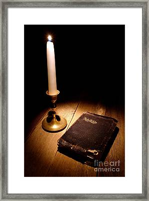 Old Bible And Candle Framed Print by Olivier Le Queinec