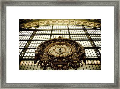 old big awsome clock from Museum dOrsay in Paris France Framed Print by Raimond Klavins