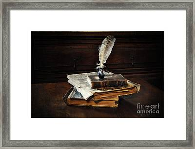 Old Books And A Quill Framed Print by Mary Machare