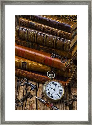 Old Books And Pocketwatch Framed Print by Garry Gay