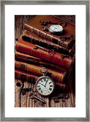 Old Books And Watches Framed Print by Garry Gay