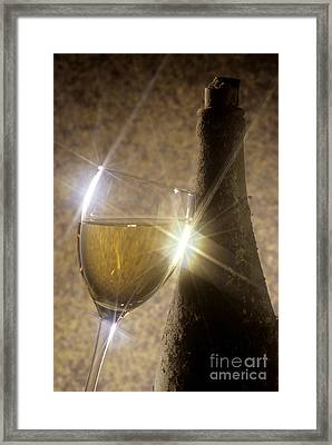 Old Bottle Of Red Wine With A Glass Framed Print by Bernard Jaubert