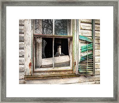 Old Broken Window And Shutter Of An Abandoned House Framed Print by Gary Heller