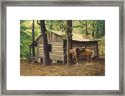 Log Cabin - Back View - At Big Creek Framed Print by Don  Langeneckert