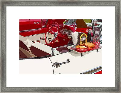 Old Car At Drive In Restaurant Framed Print by Keith Webber Jr