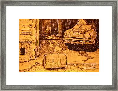 Old Car In Garage Framed Print by John Malone