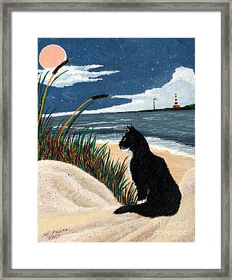 Old Cat And The Sea Framed Print by Edward Fuller