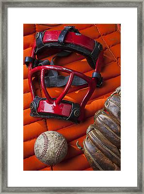 Old Catcher Mask Framed Print by Garry Gay