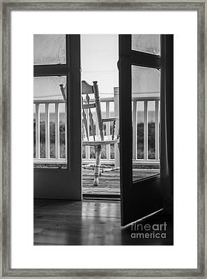 Old Chair At The Beach House Framed Print by Diane Diederich