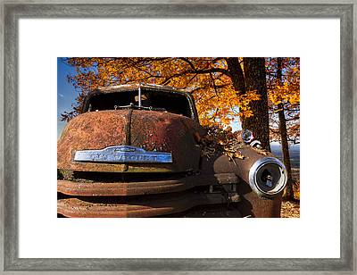 Old Chevy Truck Framed Print by Debra and Dave Vanderlaan