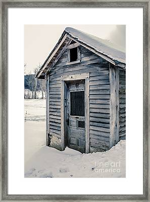 Old Chicken Coop Etna New Hampshine In The Winter Framed Print by Edward Fielding