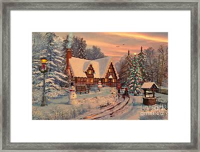 Old Christmas Cottage Framed Print by Dominic Davison