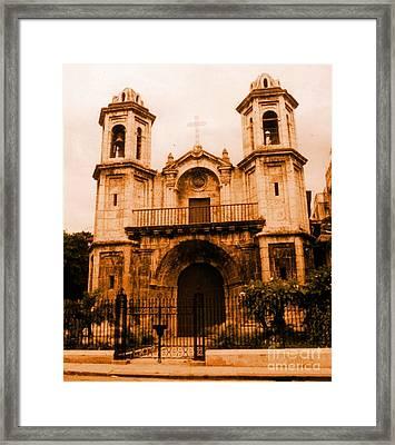 Old Colonial Church In Varadero Cuba Framed Print by John Malone