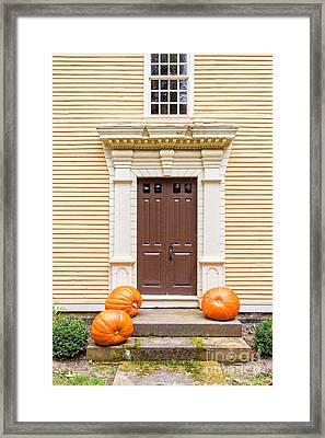 Old Colonial Era Front Door With Pumpkins Framed Print by Edward Fielding