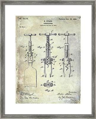 Corkscrew Patent Framed Print by Jon Neidert