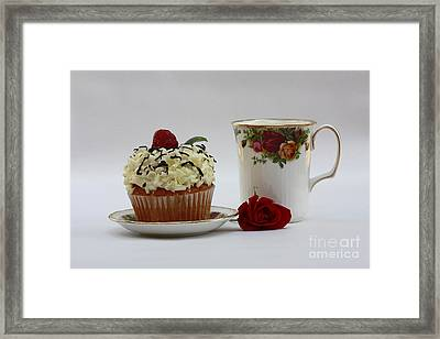 Old Country Rose And Raspberry Cupcake Delight Framed Print by Inspired Nature Photography Fine Art Photography