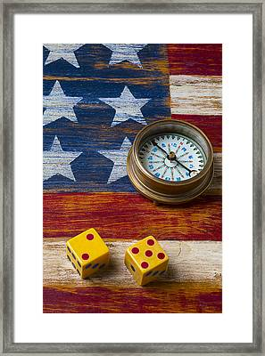 Old Dice And Compass Framed Print by Garry Gay