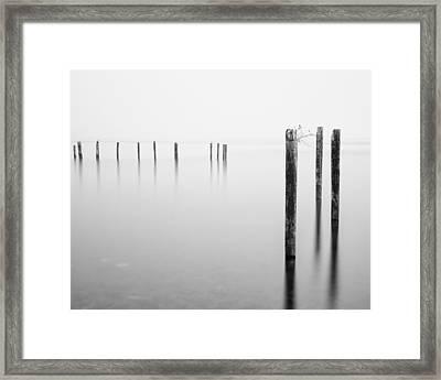 Old Dock Pilings - Puget Sound - Tacoma - Washington - January 2014 Framed Print by Steve G Bisig
