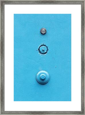 Old Door With A Doorbell And Peephole Framed Print by Mikel Martinez de Osaba