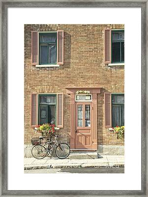 Old Downtown Building Doorway And Bike On Street Framed Print by Edward Fielding