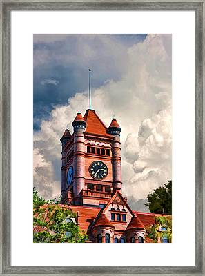 Old Dupage County Courthouse Clouds Framed Print by Christopher Arndt