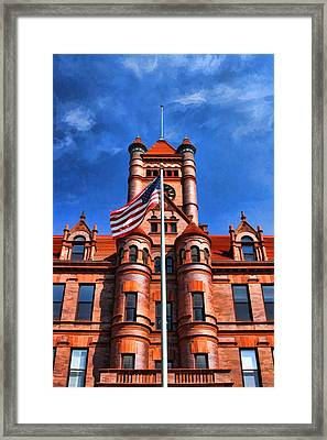 Old Dupage County Courthouse Flag Framed Print by Christopher Arndt