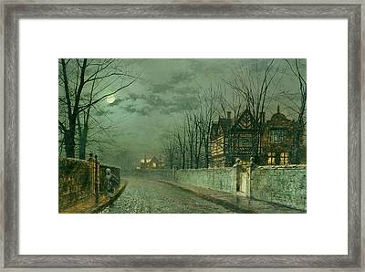Old English House, Moonlight Framed Print by John Atkinson Grimshaw