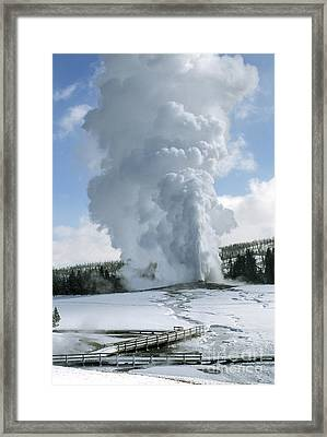 Old Faithful In Her Glory - Yellowstone Framed Print by Sandra Bronstein