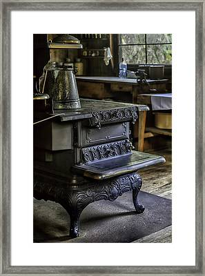 Old Farm Kitchen And Wood Burning Stove Framed Print by Lynn Palmer