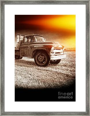 Old Farm Truck With Explosion At Night Framed Print by Edward Fielding