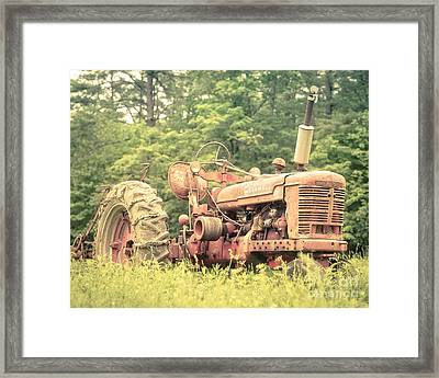 Old Farmall Tractor At Sunrise Framed Print by Edward Fielding