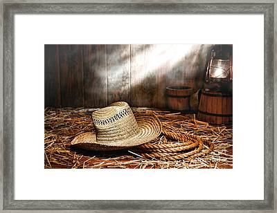 Old Farmer Hat And Rope Framed Print by Olivier Le Queinec